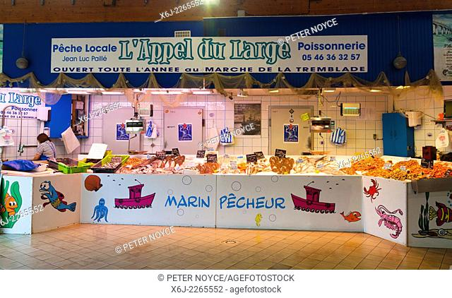 Fish stall in French covered market