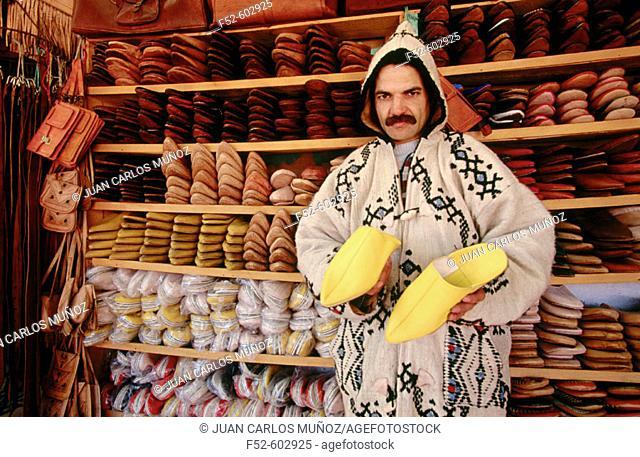 Slipper seller. Fez. Morocco