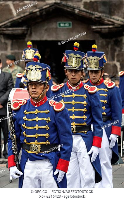 Soldier of the Presidential Guard at the changing of the guard ceremony in front of the Carondelet Presidential Palace in Quito, Ecuador.