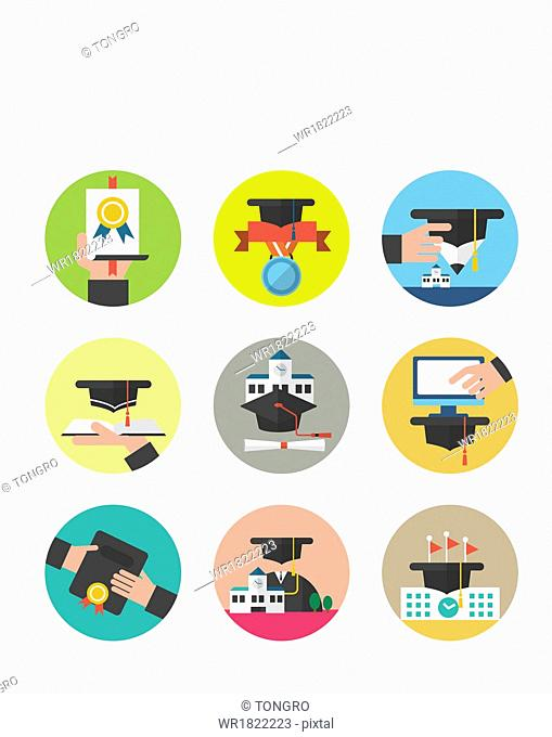 a set of icons related to education