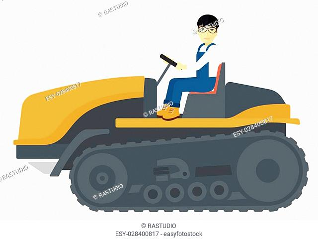 An asian farmer driving a catepillar tractor vector flat design illustration isolated on white background