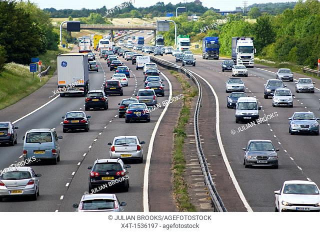 heavily congested motorway,The M40 in the UK