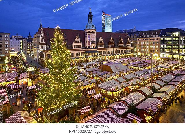 Christmas market on the market square with old town hall in Leipzig, Saxony, Germany