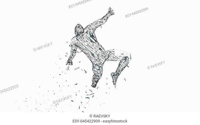 Conceptual abstract man is soaring in air. Connected lines, dots, triangles, particles isolated on white. Artificial intelligence concept