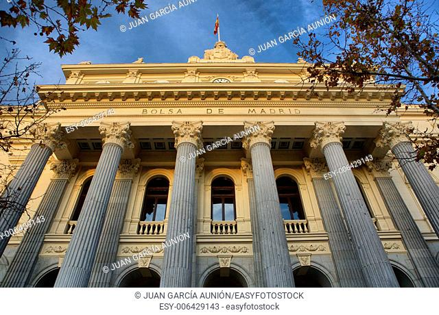 stock market facade with stone columns, Madrid, Spain