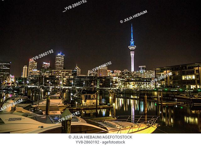 Viaduct harbor in Auckland at nighttime, New Zealand
