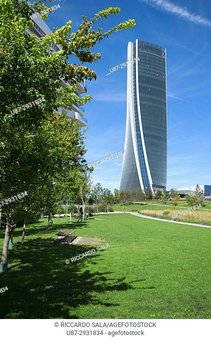 Italy, Lombardy, Milan, CityLife, Hadid Tower designed by Zaha Hadid Architect