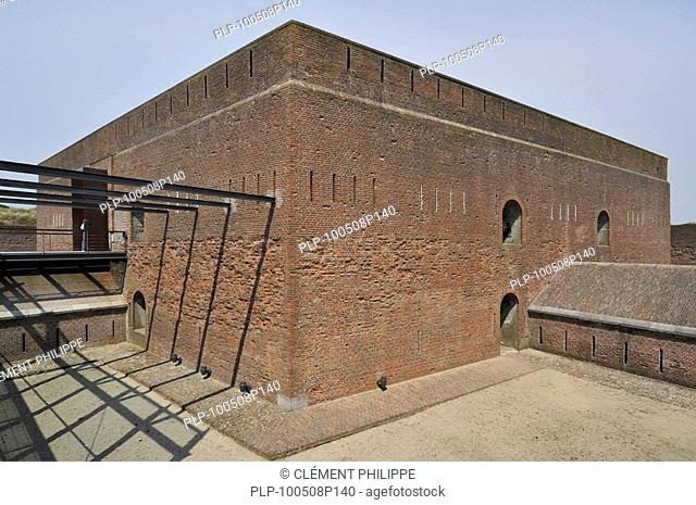 The pentagonal Fort Napoleon with caponiers and dry ditch in the dunes at Ostend, Belgium