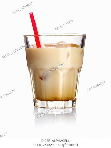 Alcohol cocktail 'white russian' isolated on white