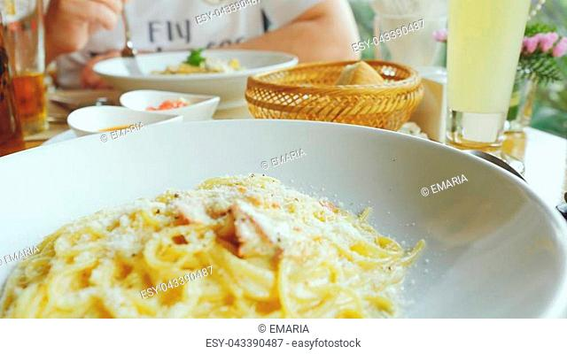 steaming plate of spaghetti in the restaurant. Restaurant concept, food, quality, nature