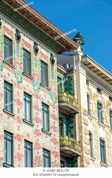 architecture otto wagner,house on wienzeile 38 with decoration of koloman moser