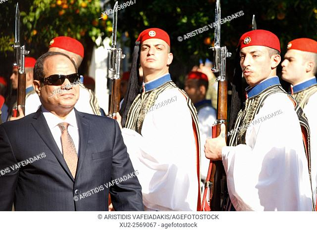 Athens, Greece, 8, November 2015, Egyptian President Abdel Fattah el-Sissi, inspects a guard of honour outside the Presidential palace