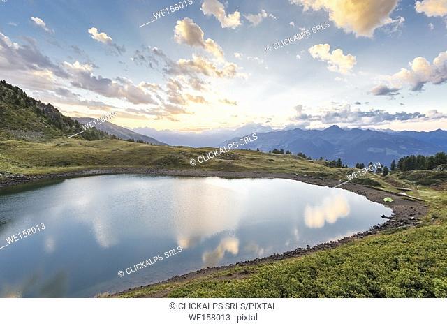 Lake Chamolé at sunset, Pila, Gressan, Aosta Valley, Italy