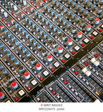 Soundboard in recording studio, Seattle, Washington