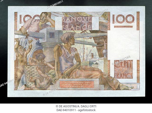 100 francs banknote, 1952, reverse, sailor's family around a capstan. France, 20th century