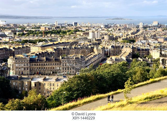 North from Calton Hill, Edinburgh, over Leith toward Leith Docks and the Firth of Forth  Lothian Region, Scotland