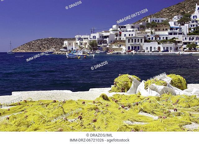 Katapola, port, fishing nets  Amorgos, Cyclades, Greece