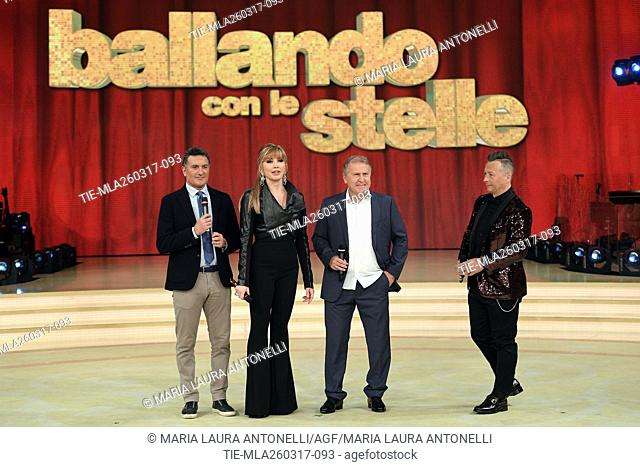 The former football player Claudio Gentile, Milly Carlucci, the former football player Arthur Antunes Coimbra ' Zico ' and Paolo Belli during the tv show...