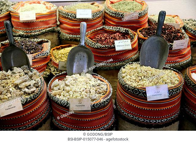 Close-up of spices at Abu Dhabi Souk Central Market