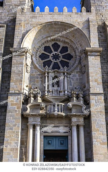 Close up on frontage of Roman Catholic Se Cathedral in Porto city on Iberian Peninsula, second largest city in Portugal