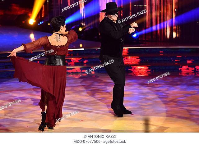 The Italian parliamentarian Antonio Razzi with his dance teacher Ornella Boccafoschi during during the fourth episode of the show Ballando Con Le Stelle...