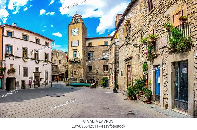 Beautiful townsquare in the medieval town of Vitorchiano, province of Viterbo, Lazio, Italy