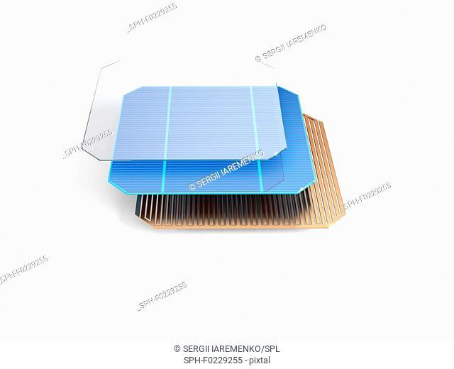 Solar panel structure, illustration