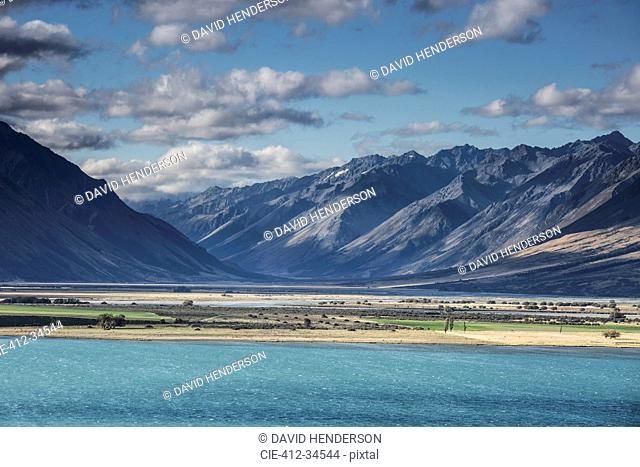 Scenic view of mountains and Lake Ohau, South Island New Zealand