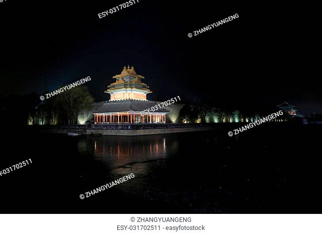 BEIJING - DECEMBER 22: The night view of northeast turrets of the Forbidden City on december 22, 2013, beijing, china