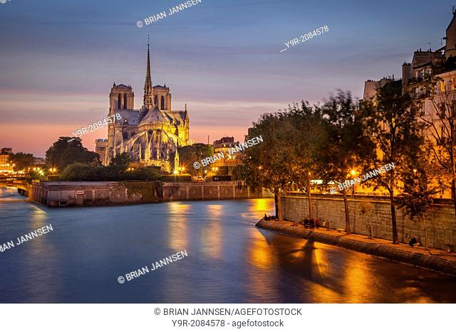 Cathedral Notre Dame along River Seine, Paris France