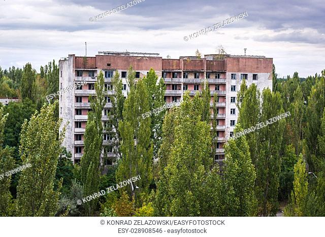Block of flats in Pripyat ghost city of Chernobyl Nuclear Power Plant Zone of Alienation around nuclear reactor disaster in Ukraine