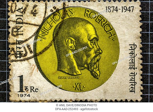 Nicholas roerich naggar, himachal pradesh, postage stamps, india, asia