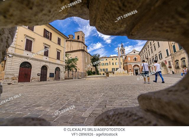 Old buildings and typical architecture of the ancient Piazza Federico II Jesi Province of Ancona Marche Italy Europe