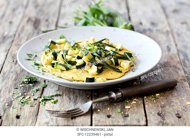 Vegan lupine omelette with zucchini