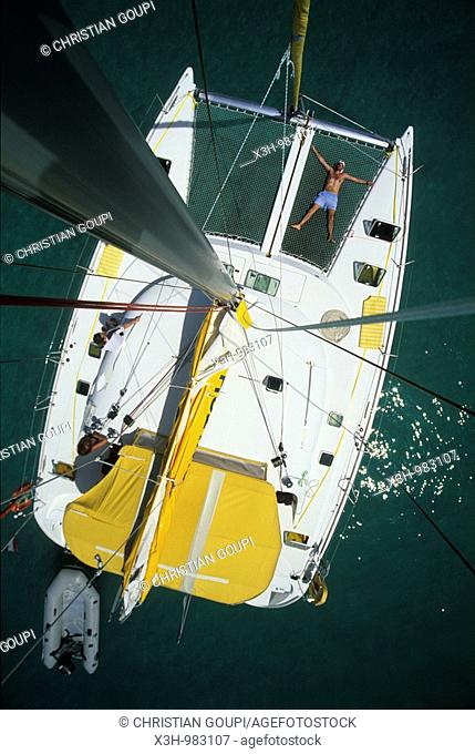 sailing boat viewed from the top of the mast,Grenadines Islands,Winward Islands,Lesser Antilles,Caribbean Sea