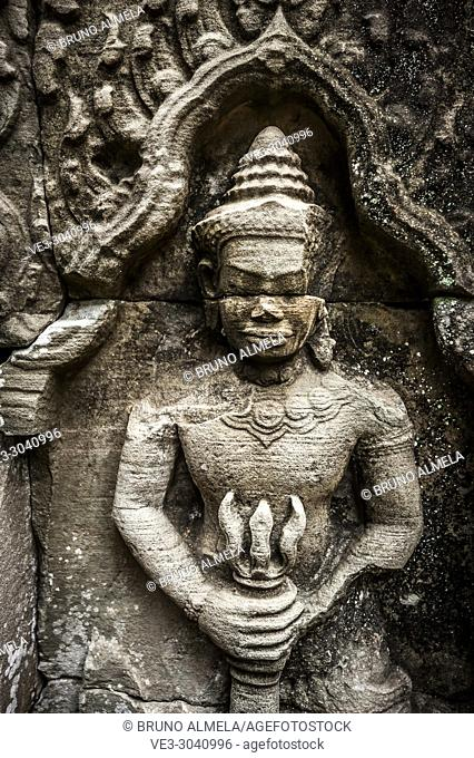Bas-relief in Ta som Temple, Angkor compound (Siem Reap Province, Cambodia)
