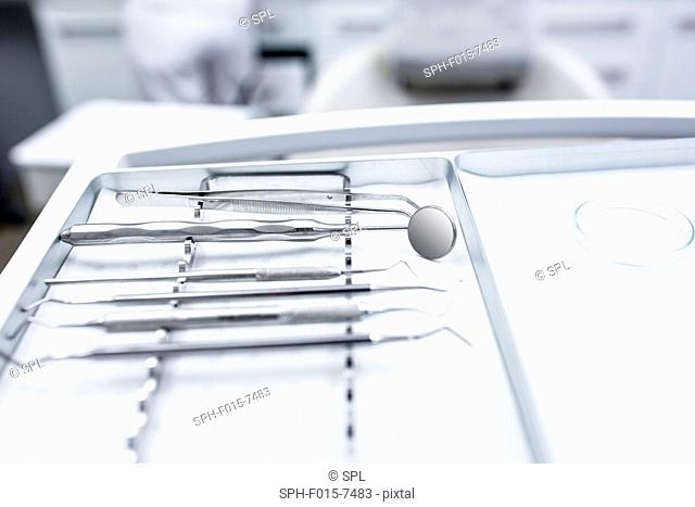Close-up of dental equipment in dentist clinic