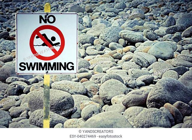 Signboard No Swimming at Noa-Dehing river, Namdapha, Arunachal Pradesh, India