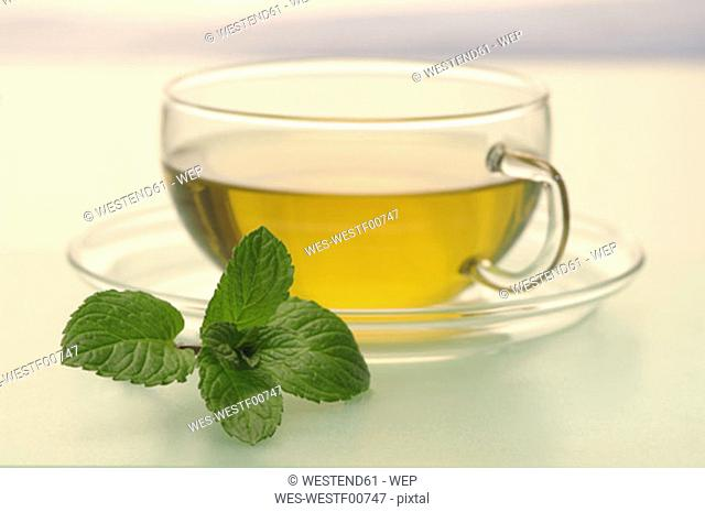 Cup of peppermint tea, close-up