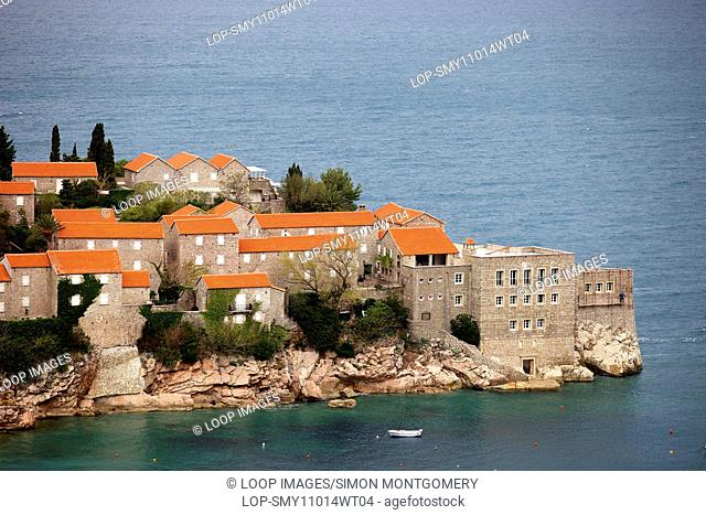 Traditional stone buildings on Sveti Stefan island