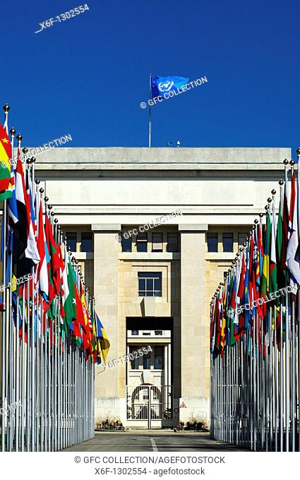 Flags from all countries around the world, Court of flag, United Nations, UNO, Palais des Nations, Geneva, Switzerland