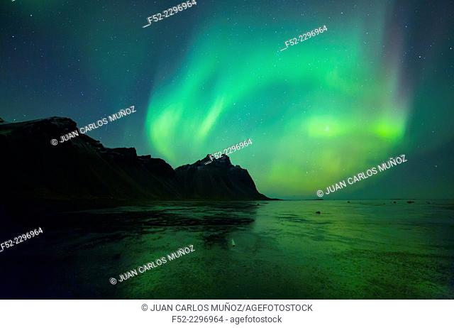 Northern Lights, Stokksnes Peninsula, Hofn, Southern Iceland, Iceland, Europe