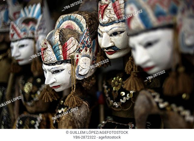 Traditional wooden puppets (wayang golek) from Java, Indonesia