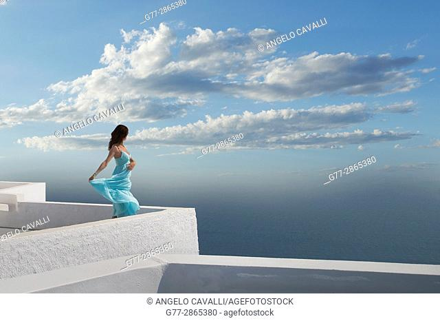 Woman, Santorini, Cyclades, Greece