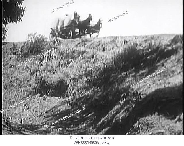 Covered wagon falling down hill