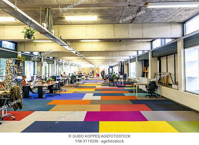 Amsterdam, Netherlands. Interior office space of editorial and journalism collective: De Cooperatie