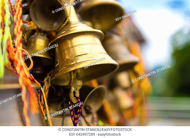 Prayer bells at buddhist temple in Kathmandu, Nepal