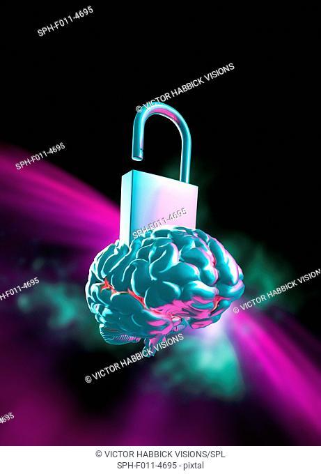 Unlocking the human brain, conceptual illustration