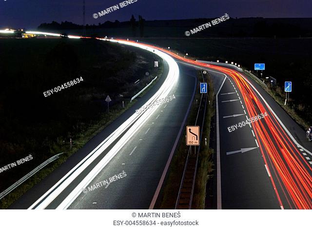 Night highway - long exposure - car light lines