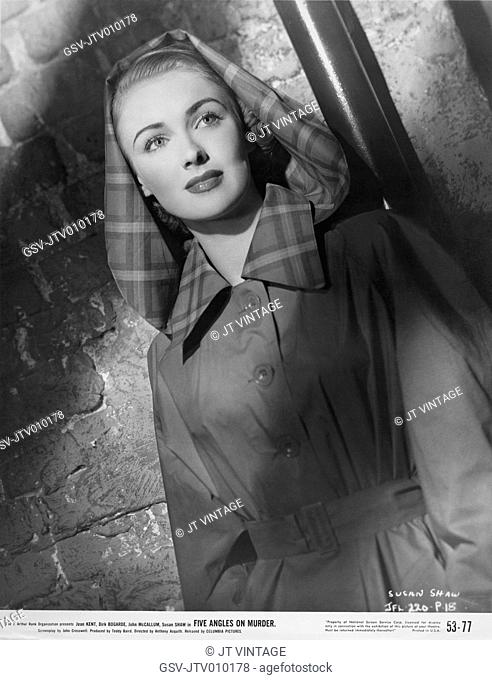 Susan Shaw, Publicity Portrait for the Film, Five Angles on Murder, Columbia Pictures, 1952 USA, Originally released as The Woman in Question, UK, 1950